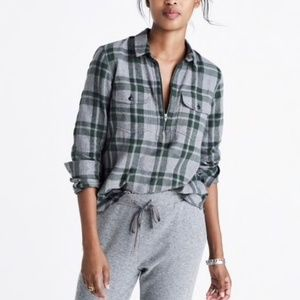Madewell flannel zip front popover shirt plaid L